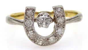Gold old cut diamond horseshoe ring, stamped 18ct Condition Report Approx 2.