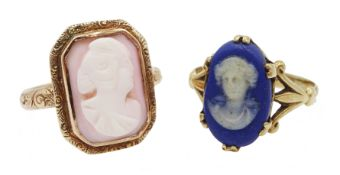 Early 20th century rose gold cameo ring and a gold Wedgewood cameo ring,