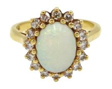 Gold opal and diamond cluster ring, stamped 18ct Condition Report Approx 4.