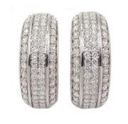Pair of 18ct white gold round brilliant cut diamond half hoop earrings, hallmarked,