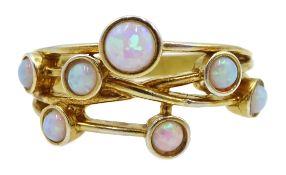 Silver-gilt multi set opal ring,