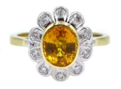 18ct gold yellow sapphire and diamond cluster ring, hallmarked, yellow sapphire approx 1.