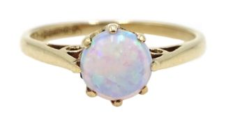 9ct gold single stone opal ring, hallmarked Condition Report Approx 1.