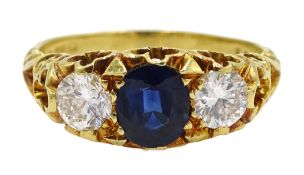 18ct gold three stone round brilliant cut diamond and oval sapphire ring by T.