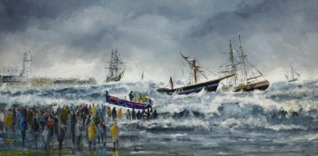 Robert Sheader (British 20th century): Salvaging a Wreck on the South Bay Scarborough,