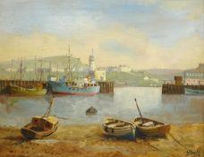 Don Micklethwaite (British 1936-): Scarborough Harbour,