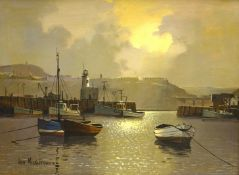 Don Micklethwaite (British 1936-): Scarborough Harbour by Moonlight,