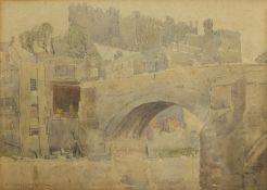 Edgar Thomas Holding (British 1870-1952): Bridge before a Castle,