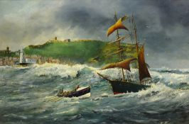 Robert Sheader (British 20th century): Scarborough Lifeboat on a Rescue off Scarborough in Stormy
