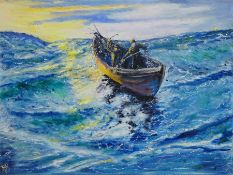 N J Bush (Contemporary): 'The Lonely Fishermen', oil on canvas signed with monogram,