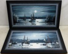 Gordon Allen (British 1953-): Moonlit Coastal Scenes,