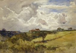 Robert Jobling (Staithes Group 1841-1923): House on the Moors, watercolour unsigned,