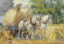 R Morden? (British 20th century): Haymaking,