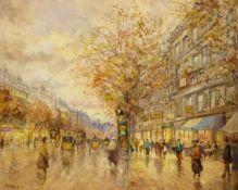 M J Rendell (20th century): Parisian Street scene in the Rain,