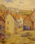 Donald Gray Midgely (British 1918-1995): Lifeboat Pier 'East Side Whitby',