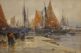 David Gould Green (British 1854-1918): Busy Harbour,