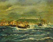 Robert Sheader (British 20th century): Lifeboat Returning to Scarborough Harbour in Choppy Seas,