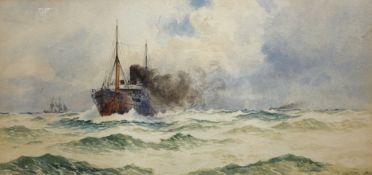 William Stephen Tomkin (British 1860-1940): Trawler in Choppy Seas,