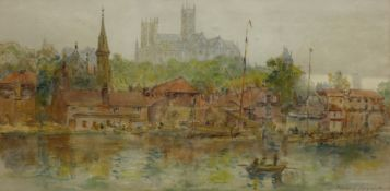 Mary Weatherill (British 1834-1913): Lincoln Cathedral from Brayford Pool,