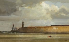 Colin R Britton (British 1947-): 'Whitby Harbour', gouache signed with initials,