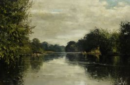 Walter Robert Jennings (British 1927-2005): Fishing on the River Severn, oil on canvas signed,