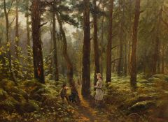 Hodgson (19th century): Figures and a Dog in Woodland setting,