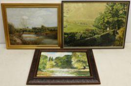 Ken Johnson (British 20th century): River Landscape, oil on board signed,