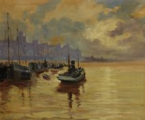 Continental School (Mid 20th century): Busy Estuary with Sailing Barges,