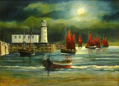 Robert Sheader (British 20th century): The Herring Fleet and Scarborough Lighthouse under Moonlight,