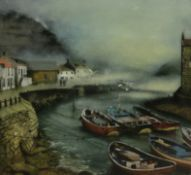 John Emerson (British Contemporary): Cobles at Staithes,