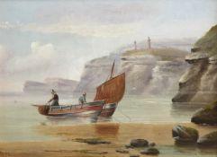 Edward King Redmore (British 1860-1941): Boats at the Cliff Foot,