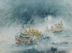 John Emerson (British Contemporary): Scarborough Trawler 'Unity' in a Heavy Swell,