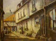 Donald Gray Midgely (British 1918-1995): Market Place Whitby, oil on board signed and dated '82,