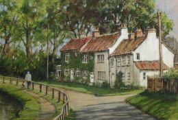 David Newbould (British 1938-2018): Terraced Dales Cottages,