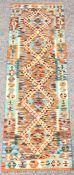 Chobi Kilim multi-coloured runner rug, 204cm x 66cm
