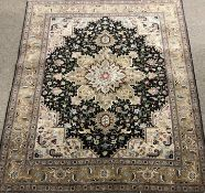 Fine Tabriz beige ground rug, repeating border, central medallion, 350 kpsi, 197cm x 143cm