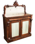 19th century rosewood Chiffonier raised mirror back, single frieze drawer above two doors with pleat