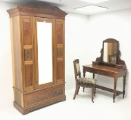 Edwardian bedroom suite comprising of mahogany raised mirror back dressing table, four drawers, tur
