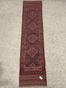 Meshwani red and blue ground runner rug, 263cm x 60cm