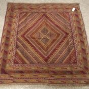 Gazak maroon ground rug, four central diamonds, 130cm x 122cm