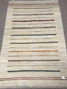 Shiraz Kilim beige ground rug, patterned stripes, 250cm x 155cm
