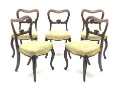 Set six Victorian mahogany dining chairs, shaped cresting rail above carved middle rail, serpentine