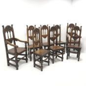 Set eight (6+2) early 20th century oak dining chairs, floral carved cresting rail, solid seat, turn