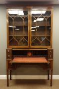 19th century mahogany secretaire bookcase, projecting cornice with figured and satinwood inlaid frie