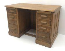 Vintage oak twin pedestal desk, two slides, eight drawers, plinth base, W122cm, H78cm, D68cm