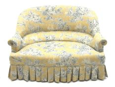 20th century French style two seat settee, serpentine seat and curved back, pleated skirt, upholster