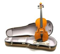 20th century viola with 38.5cm two-piece maple back and ribs and spruce top, bears label 'Alfred Fra