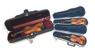 Three modern graduated violins - Suzuki 1/10 size child's violin with 23.5cm single piece back, bear