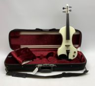 Fender white and black electric violin with 35.5cm back, serial no.KD00060342, 59cm overall, in orig