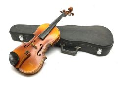 Maidstone School violin c1930 with 36cm two-piece maple back and spruce top, bears label 'The Maids